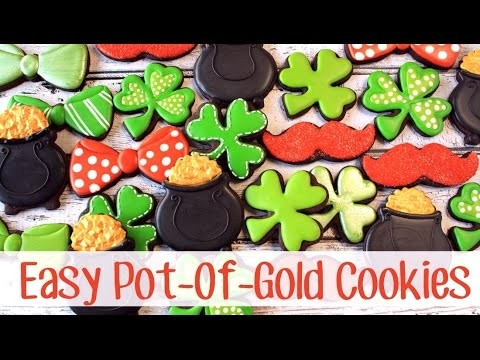 How To Make Easy Decorated Pot of Gold Cookies for St. Patrick's Day