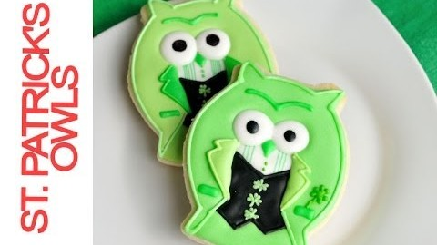 Saint Patrick's Day Owl Cookies Tutorial, Decorating with Royal Icing
