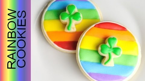 Saint Patrick's Day Rainbow Shamrock Cookies Tutorial, Decorating with Royal Icing